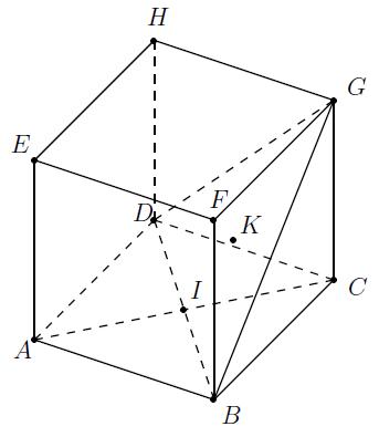 Géométrie Espace, vecteurs, cube, parallèles, alignés, terminale