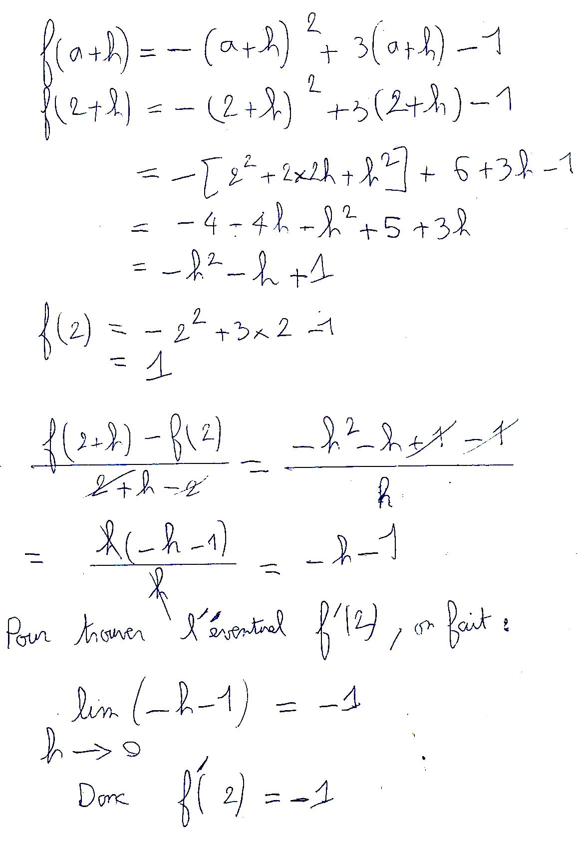 Détermination d'un nombre dérivé par le calcul