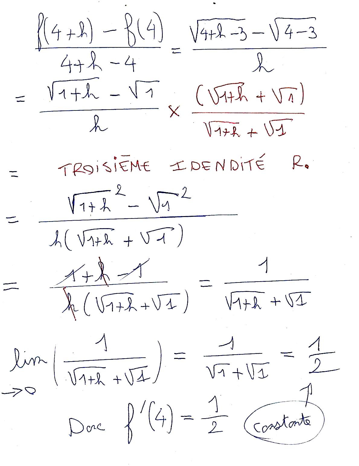 Nombre dérivé avec fonction racine carrée