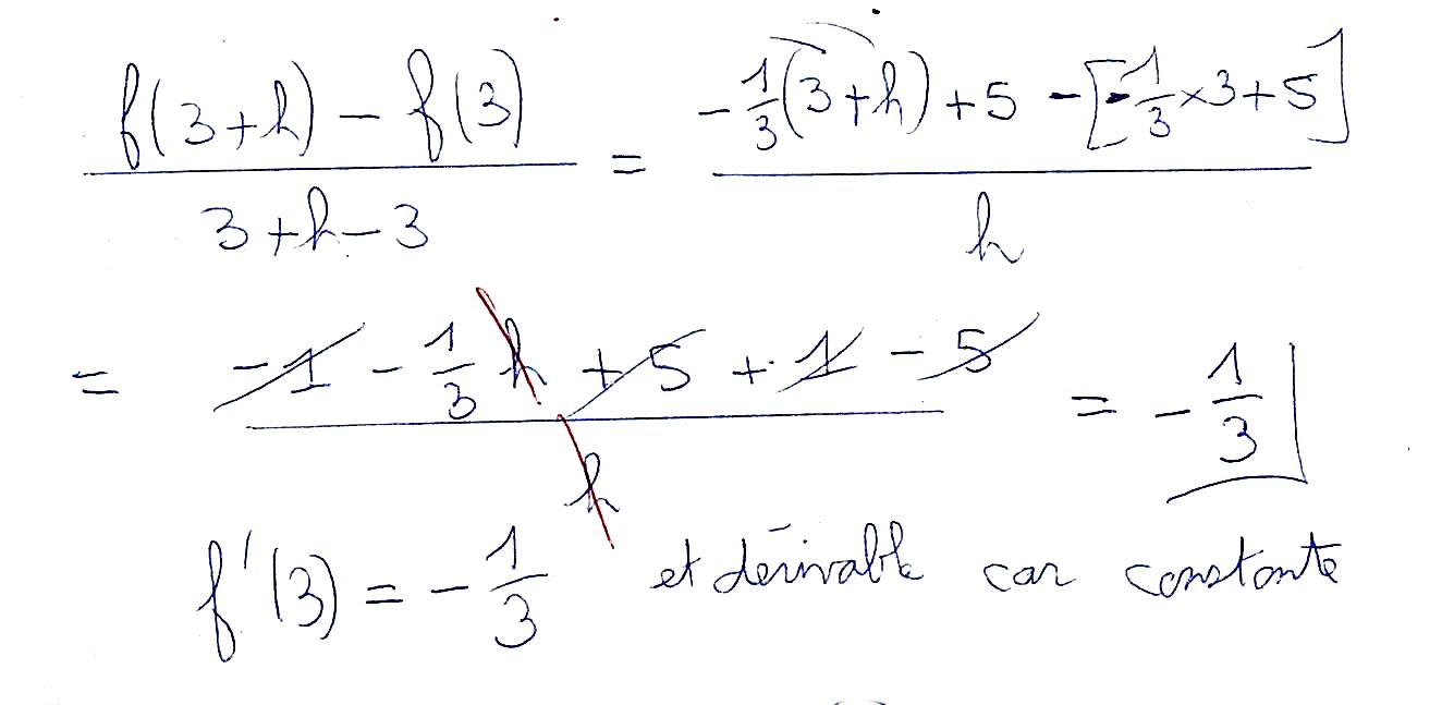 Calcul d'un nombre dérivé avec fonction affine