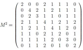 matrice adjacence graphe longueur 2