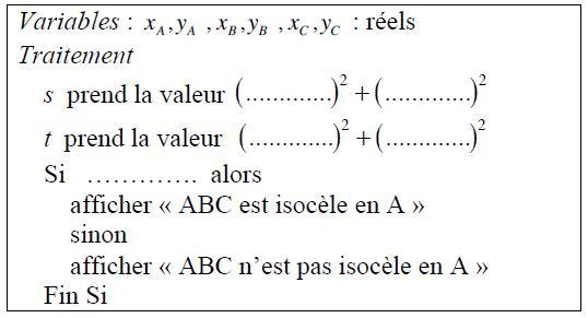 algorithmique, repérage, géométrie 2D, milieux, distance, seconde