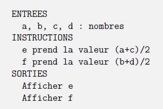 algorithmique, repérage, géométrie 2D, distance, milieu, seconde