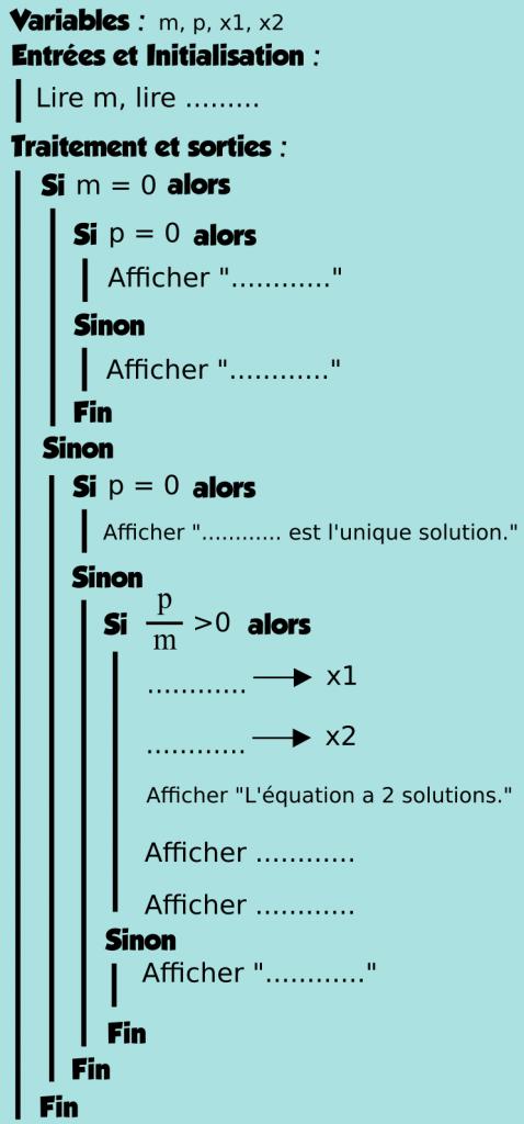 Algorithmique - Conditions, si, alors, second degré, variables - Première
