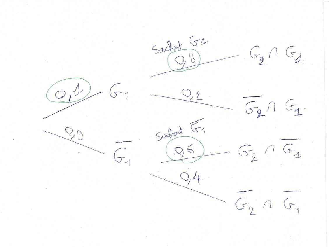 Probabilités conditionnelles, sachant, intersection, suite, limite, inéquation, récurrence