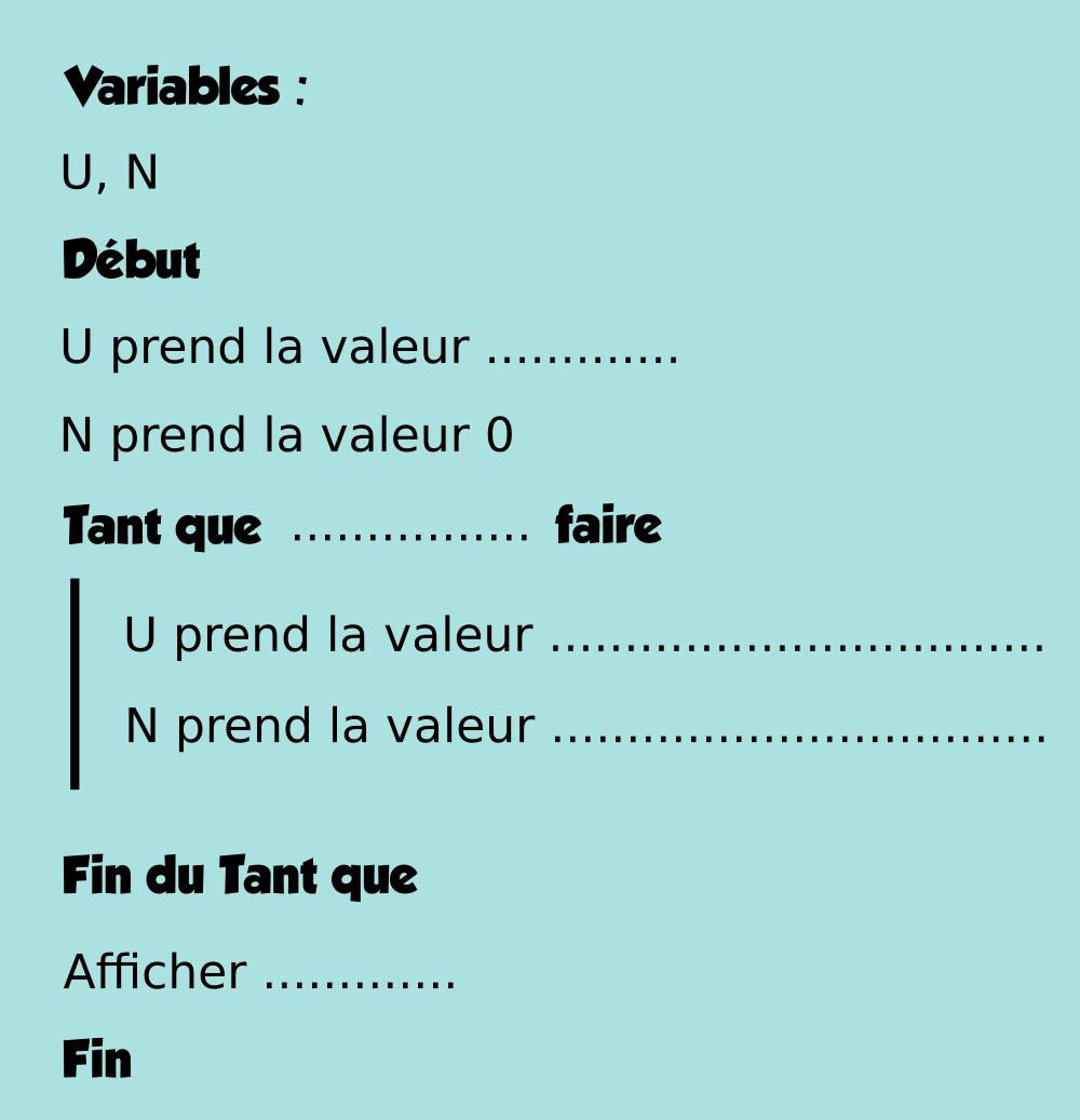 Algorithmique - Suite, évolution, tableur, variation, limite - Première