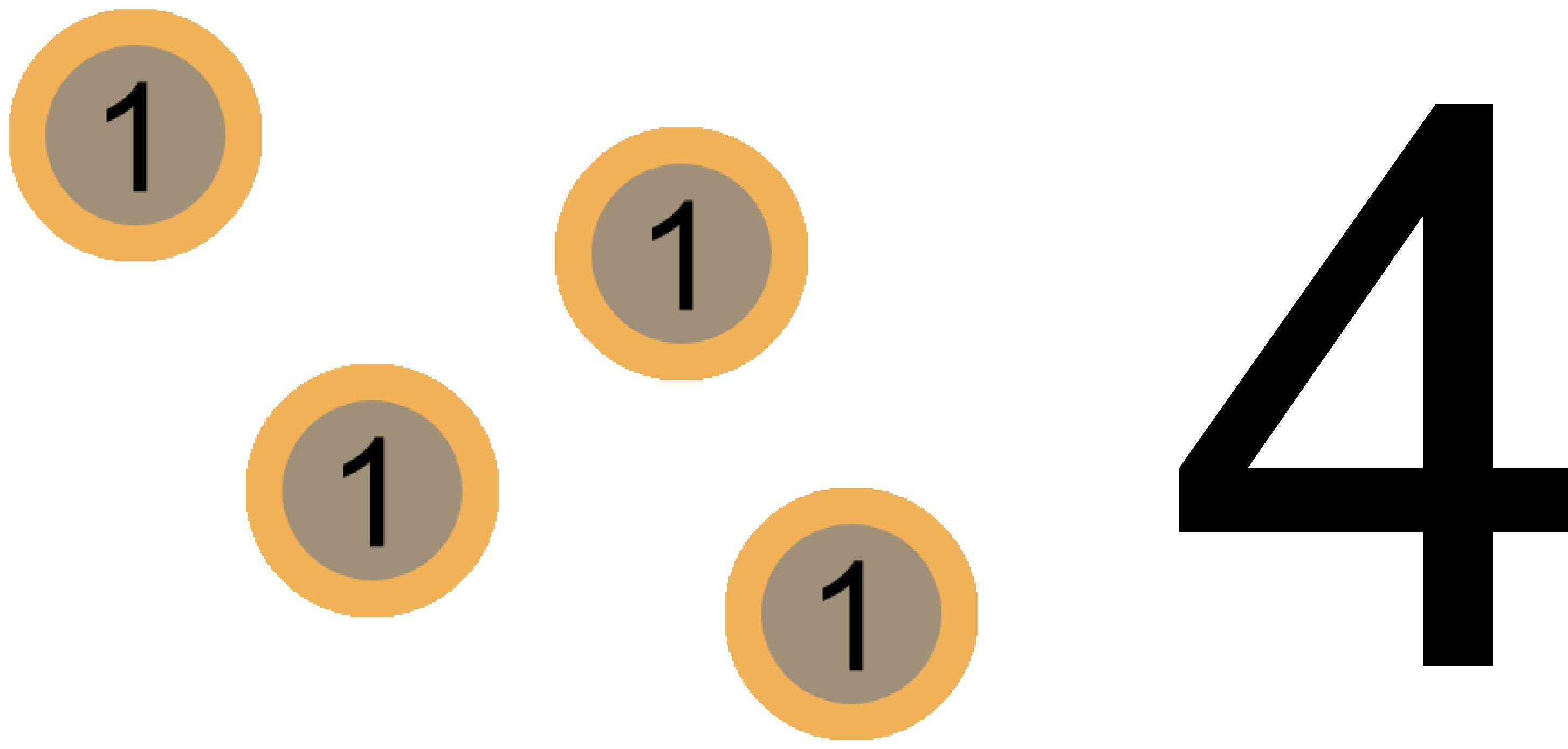 Nombre, entier naturel, quatre, pièces, euros, maths